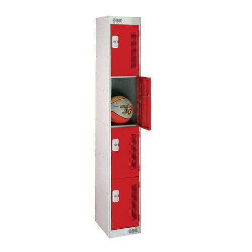 4 Door Perforated Locker 1800Hx300Wx300Dmm Cam Lock Door Colour Red