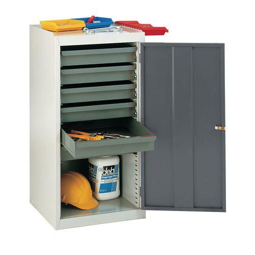 Tool Cupboards  Single Door Dark Grey With 6 Drawers