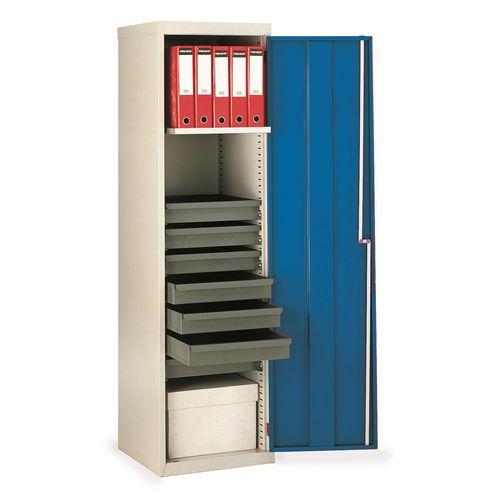 Cupboard Utilty Blue Doors With 1 Shelf + 7 Drawers