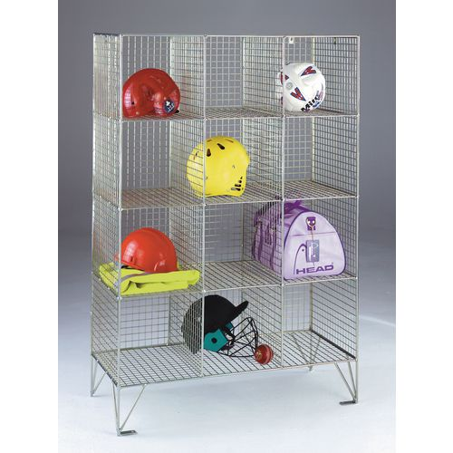 Wire Mesh Locker Personal Effect 12 Compartments No Doors D:450