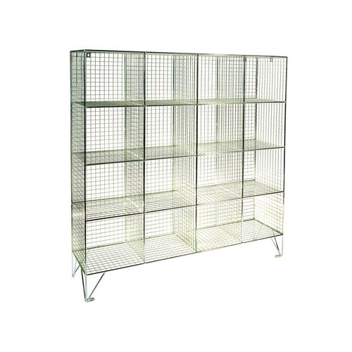 Wire Mesh Locker Personal Effect 16 Compartments No Doors D:450