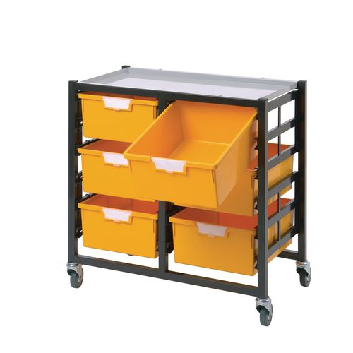 Mobile Tray Storage Unit 3 Deep Trays Yellow A4 340x435x620mm