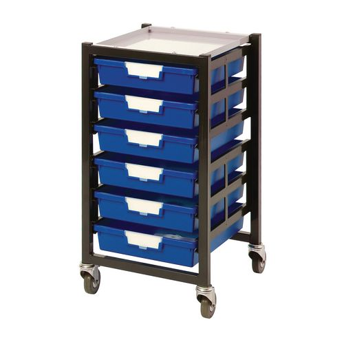 Mobile Tray Storage Unit 6 Shallow Trays Blue A4 340x435x620mm