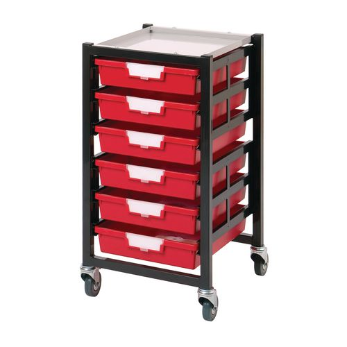 Mobile Tray Storage Unit 6 Shallow Trays Red A4 340x435x620mm