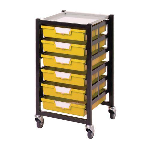 Mobile Tray Storage Unit 6 Shallow Trays Yellow A4 340x435x620mm
