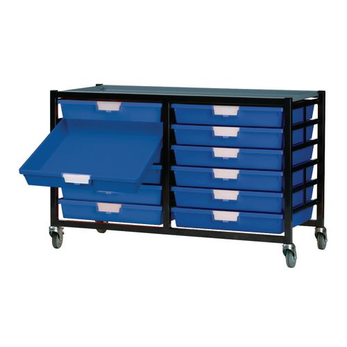 Mobile Tray Storage Unit 12 Shallow Trays Blue A4 690x435x620mm