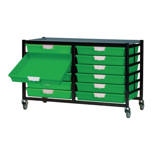 Mobile Tray Storage Unit 12 Shallow Trays Green A4 690x435x620mm