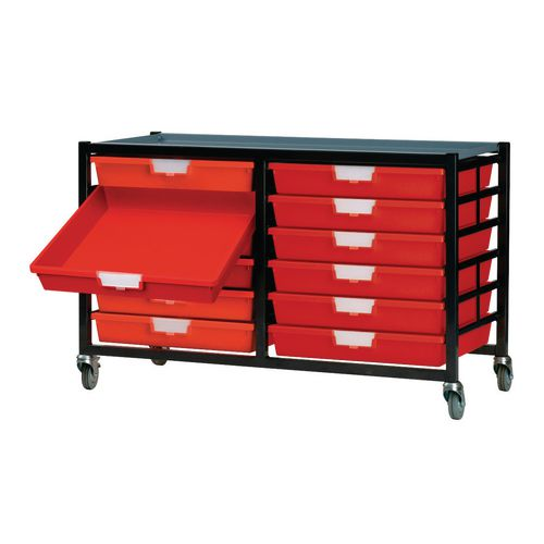 Mobile Tray Storage Unit 12 Shallow Trays Red A4 690x435x620mm
