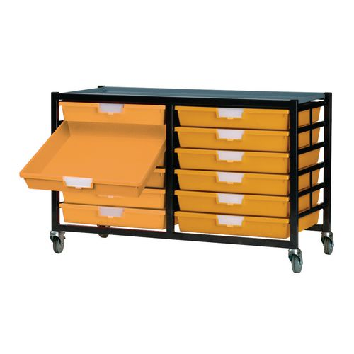 Mobile Tray Storage Unit 12 Shallow Trays Yellow A4 690x435x620mm