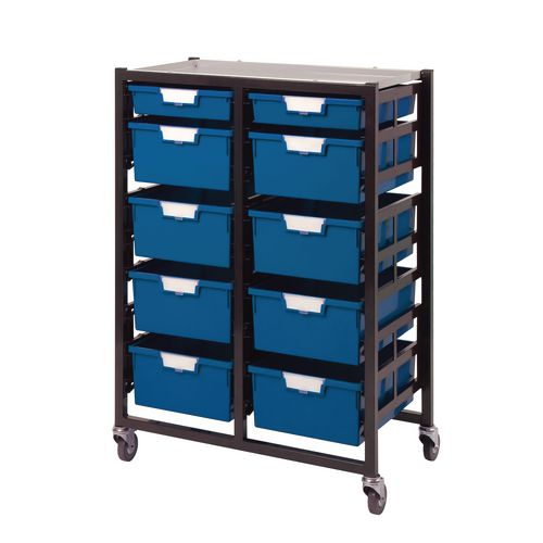 Mobile Tray Unit 10 Tray Blue A4 8 Deep+ 2 Shallow 690X435X900