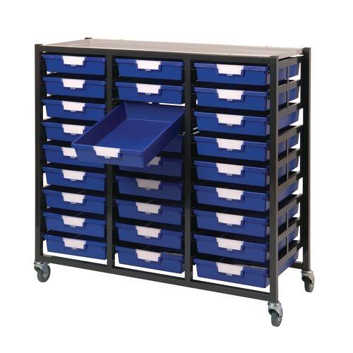 Mobile Tray Storage Unit 18 Shallow Trays Blue A4 690x435x900mm