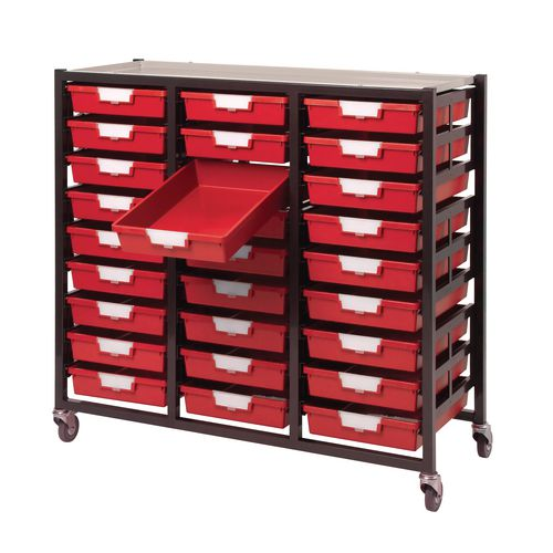 Mobile Tray Storage Unit 27 Shallow Trays Red A4 1038x435x900mm