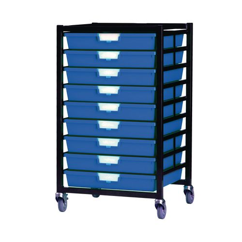 Mobile Tray Storage Unit 9 Shallow Trays Blue A3 525x645x435mm