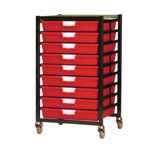 Mobile Tray Storage Unit 9 Shallow Trays Red A3 525x645x435mm