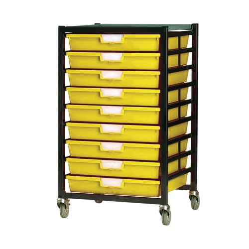 Mobile Tray Storage Unit 9 Shallow Trays Yellow A3 525x645x435mm