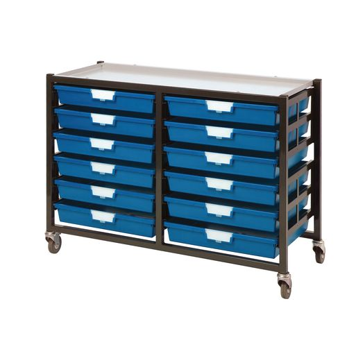 Mobile Tray Storage Unit -12 Shallow Trays Red A3 1025x645x435mm