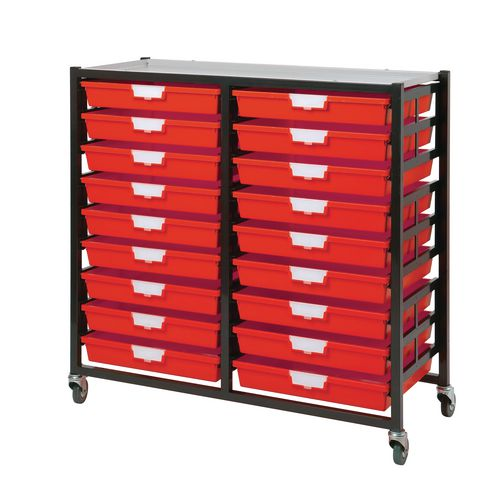 Mobile Tray Storage Unit 18 Shallow Trays Red A3 1025x645x435mm