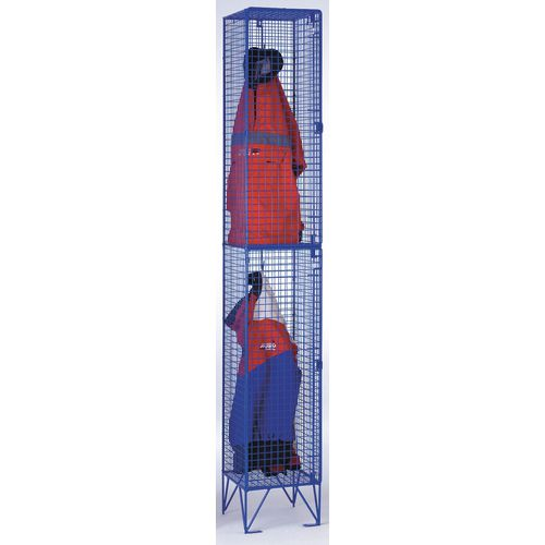 Coloured Wire Mesh Locker Standard 4 Compartments Blue
