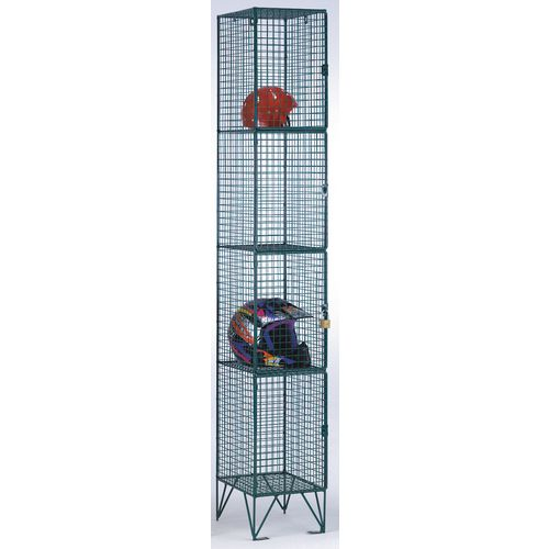 Coloured Wire Mesh Locker Standard 4 Compartments Green