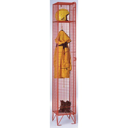 Coloured Wire Mesh Locker Standard 4 Compartments Red