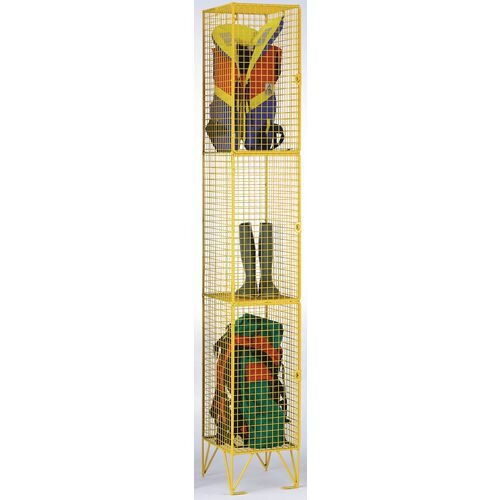 Coloured Wire Mesh Locker Standard 4 Compartments Yllw