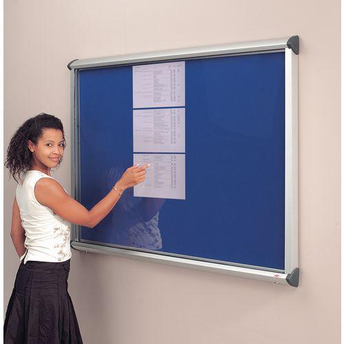 Noticeboard Glazed Deluxe 1 Dr,12Xa4 Sheet Cap Blue