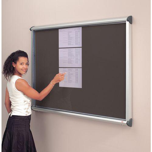 Noticeboard Glazed Deluxe 1 Dr,12Xa4 Sheet Cap Black