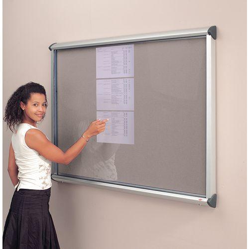 Noticeboard Glazed Deluxe 1 Dr,12Xa4 Sheet Cap Grey