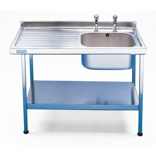 Single Commercial Kitchen Sink Stainless Steel With Left Hand Drainer Wxl Mm: 600X1200 - Stand &Taps Are Available Separately