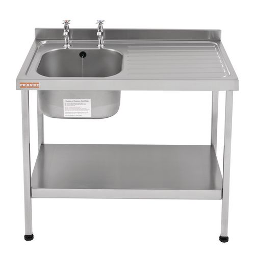 Single Commercial Kitchen Sink Stainless Steel With Right Hand Drainer Wxl Mm: 600X1200 - Stand &Taps Are Available Separately