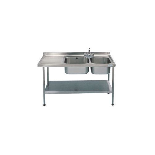 Double Commercial Kitchen Sink Stainless Steel With Left Hand Drainer WxL mm: 600X1500 - Stand &Taps Are Available Separately
