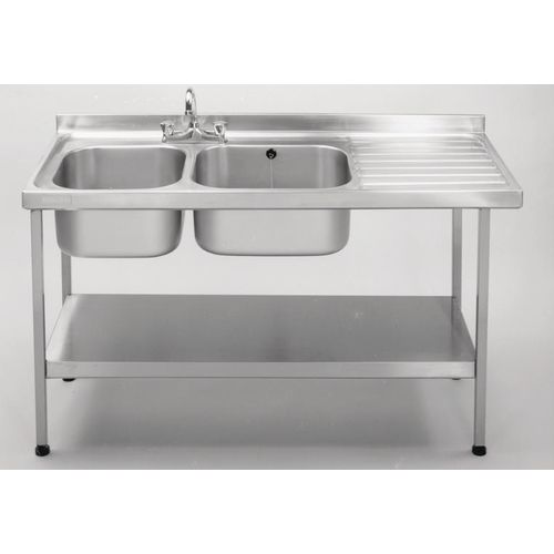 Double Commercial Kitchen Sink Stainless Steel With Right Hand Drainer WxL mm: 600X1500 - Stand &Taps Are Available Separately