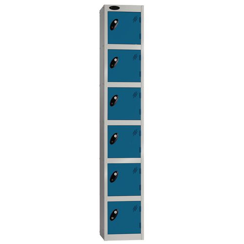 Locker Economy Range 6 Door Depth:305mm Silver &Blue