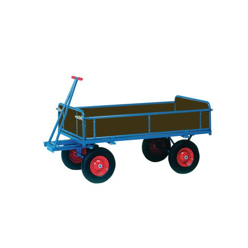 Truck Turntable 2000X1000mm Solid Rubber Tyres With Sides 1250Kg Capacity
