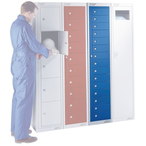 Flat Garment Locker 15 Compartment Red Door