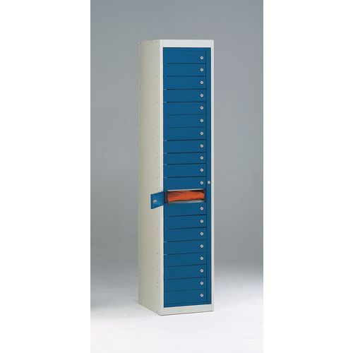 Flat Garment Locker 20 Compartment Blue Door