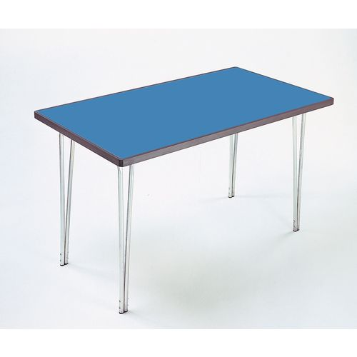 Aluminium Canteen Folding Table With Polyedge and Blue Laminate Table Top W1830xD760xH760mm - Stackable &Foldable For Easy Transportation