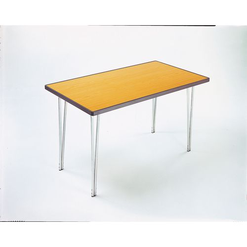 Aluminium Canteen Folding Table With Polyedge and Saxon Oak Laminate Table Top W1520xD685xH760mm - Stackable &Foldable For Easy Transportation