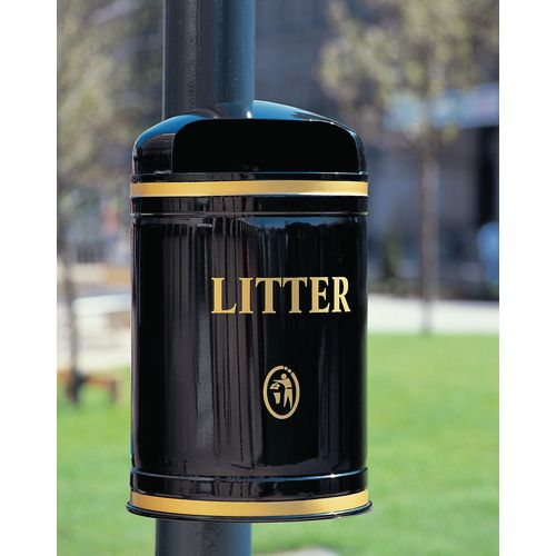 Bin Litter Dome Top Wall Mount Gold Lettering Black