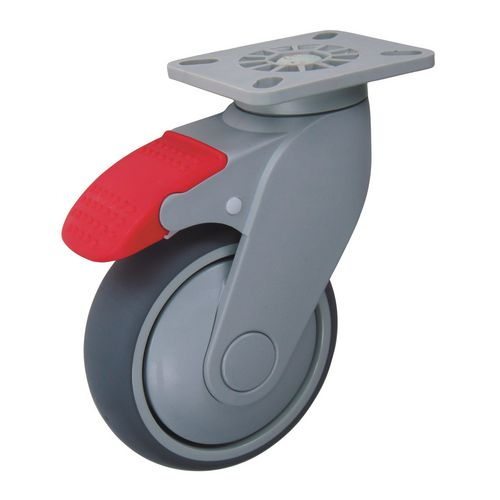 Castors Grey Rubber Tyred 100mm Dia Swivel &Brake 148mm Fitted Height 70Kg Load Capacity