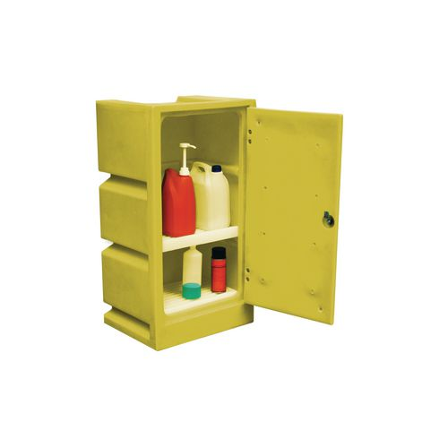 Cabinet Storage Poly Acid Colour Yellow 2 Shelves 30L Capacity