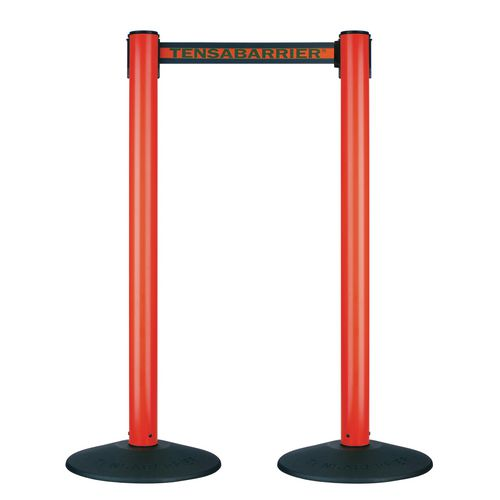 Barrier Sys Plastic Red Post Black/Red Webbing Pack Of 2