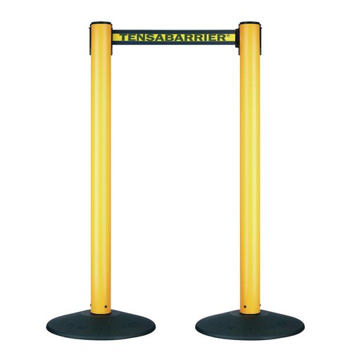 Barrier Sys Plasticyellow Post Black/Yellow Webbing Pack Of 2