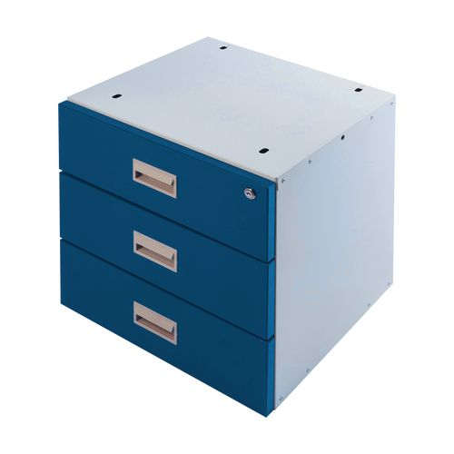 Drawer Unit Triple Blue Drawers 420X420X430mm