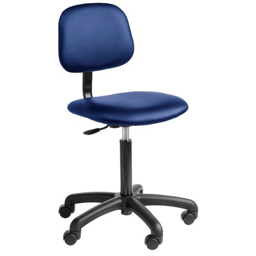 Chair Industrial 5 Star Base Fabric With Castors Blue