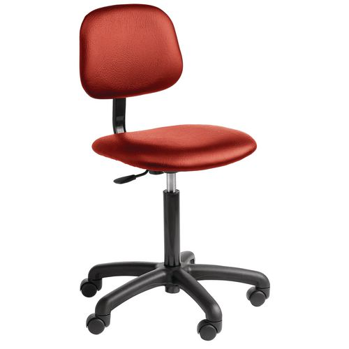 Chair Industrial 5 Star Base Fabric With Castors Red