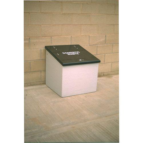 Waste Storage Unit 420 Ltrs Light Grey + Black Lid