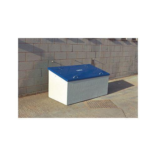 Waste Storage Unit 840 Ltrs Light Grey + Blue Lid