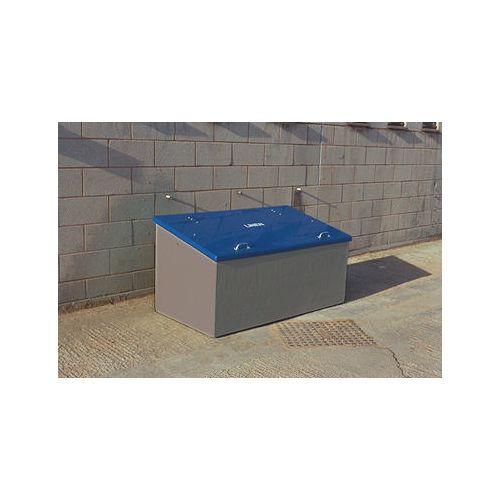 Waste Storage Unit 840 Ltrs Dark Grey + Blue Lid