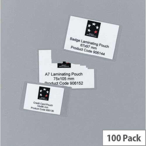 Laminating Pouches,Credit Card 250 Micron Pk100 (5 Star)